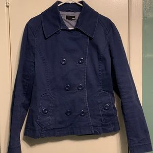 Women's H&M Blue Cotton Double Breasted Peacoat XL